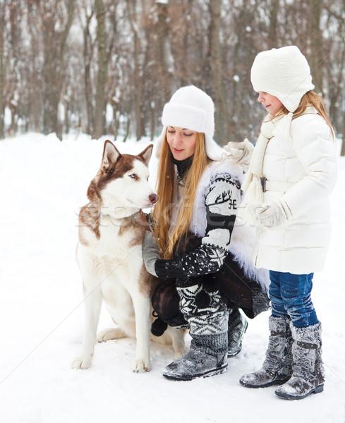 Stockfoto: Gelukkig · jonge · moeder · dochter · hond · winter