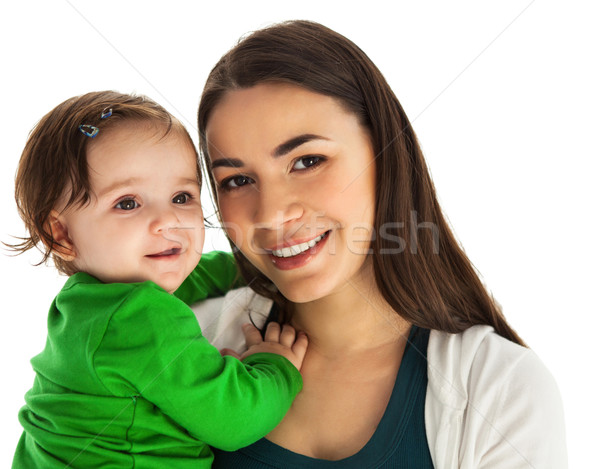 Heureux souriant mère huit mois Photo stock © dashapetrenko