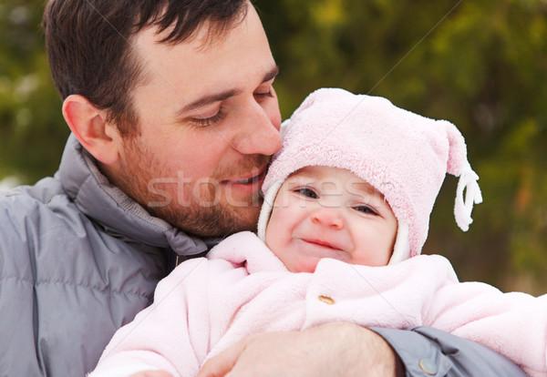 Boldog mosolyog apa egyéves kislány kint Stock fotó © dashapetrenko