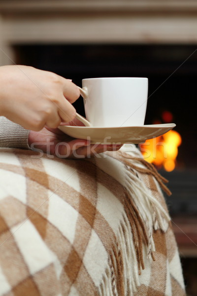 Tea near the fireplace Stock photo © dashapetrenko