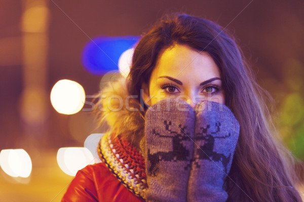 Portrait of young pretty woman outdoor in wintertime Stock photo © dashapetrenko