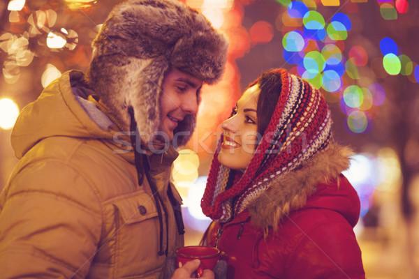 Glücklich Paar Liebe Freien Abend Weihnachten Stock foto © dashapetrenko