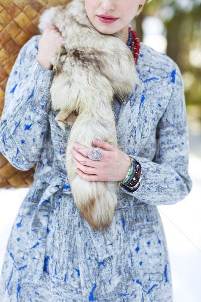 Invierno parque moda nina cara Foto stock © dashapetrenko
