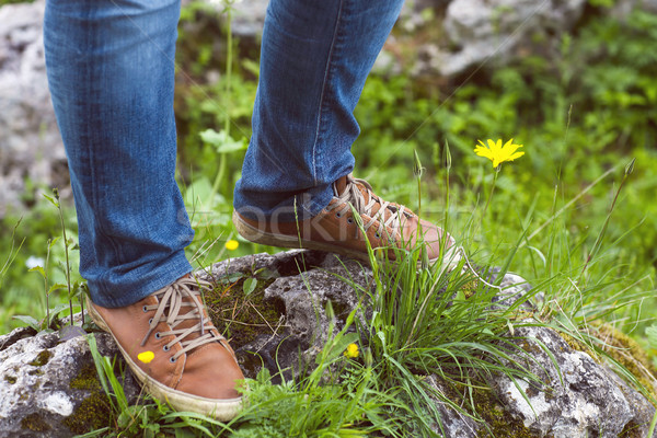 Woman hiker legs stand on mountain peak  Stock photo © dashapetrenko