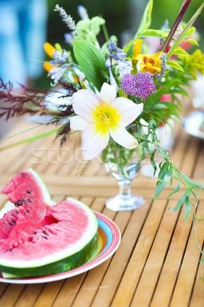 Zomer outdoor partij limonade ingericht bloemen Stockfoto © dashapetrenko