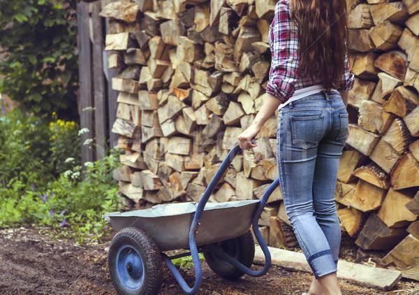 Mooie vrouw brandhout poseren textuur bos Stockfoto © dashapetrenko