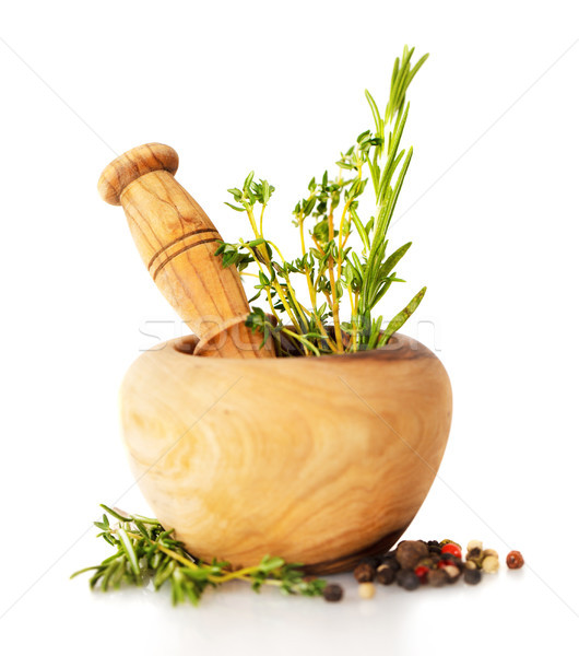 Stock photo: Mortar with fresh herbs