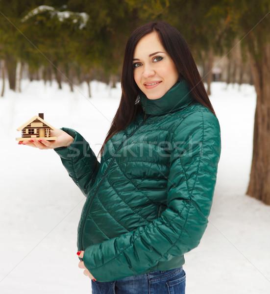 Stok fotoğraf: Genç · güzel · hamile · kadın · kış · gün · elbise
