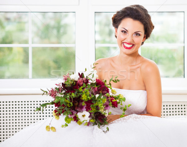 Bride holding unusual wedding bouquet with succulent flowers and Stock photo © dashapetrenko