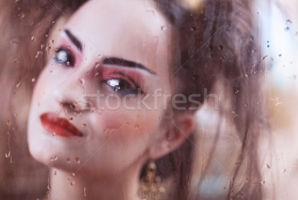 Estilizado retrato japonês gueixa brilhante Foto stock © dashapetrenko