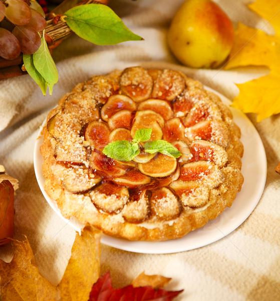 Homemade fig pie with nuts and honey Stock photo © dashapetrenko