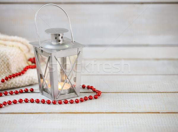 Christmas stilleven lantaarn Rood kralen houten Stockfoto © dashapetrenko