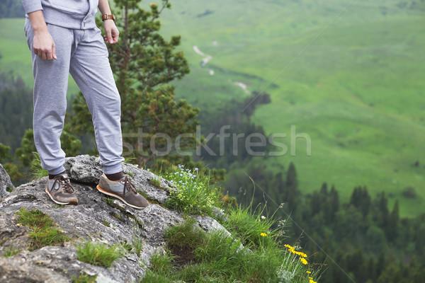 Adam üst dağ doğa Stok fotoğraf © dashapetrenko