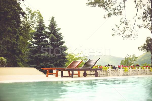 Recorrer hotel piscina retro vintage praia Foto stock © dashapetrenko