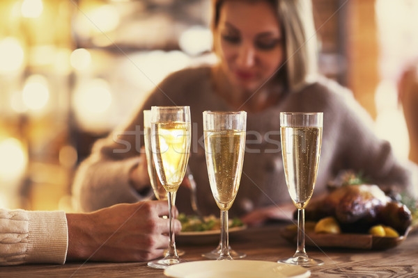 Party with sparkling champagne glasses. Close up Stock photo © dashapetrenko