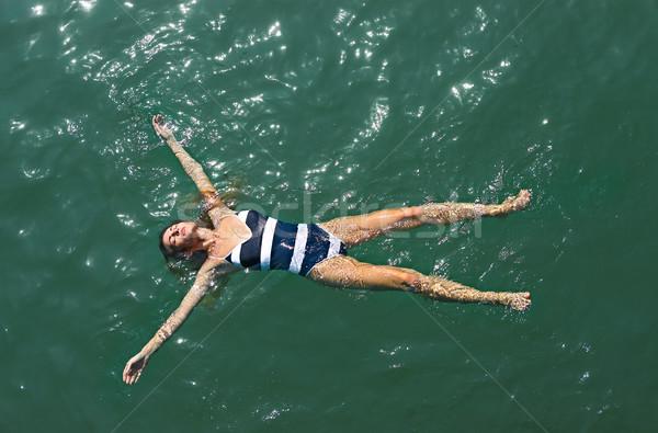 Légi felső lefelé kilátás lány tenger Stock fotó © dashapetrenko