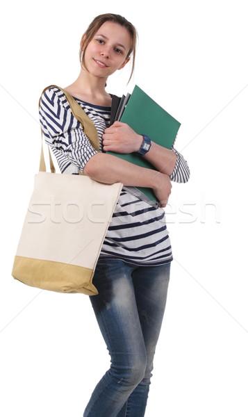 Adolescente aluna livros didáticos branco lousa menina Foto stock © dashapetrenko
