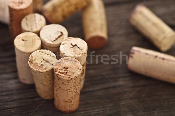 Elavult borosüveg fából készült közelkép fal étterem Stock fotó © dashapetrenko