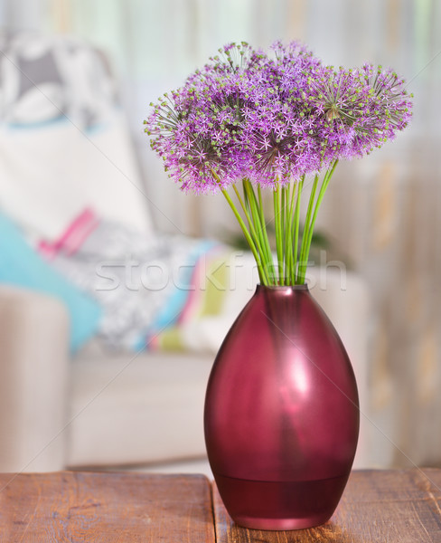 Giant Onion (Allium Giganteum) flowers in the flower vase on tab Stock photo © dashapetrenko