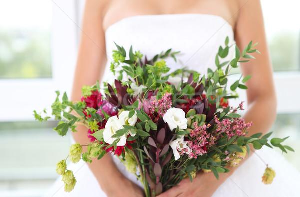 結婚式のブーケ ジューシーな 花 レトロスタイル 手 珍しい ストックフォト © dashapetrenko