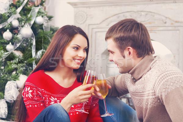 Stockfoto: Jonge · gelukkig · paar · drinken · champagne · boom