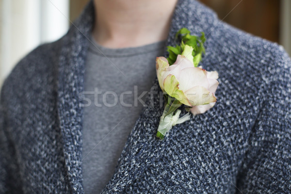Gentle groom boutonniere with roses and beads Stock photo © dashapetrenko