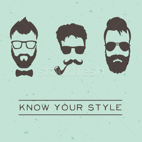 Styles hommes hipsters vintage design homme Photo stock © Dashikka