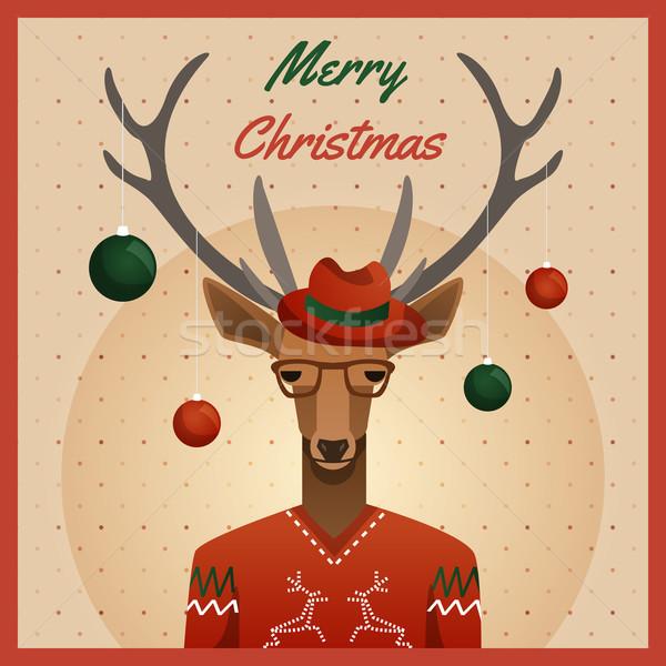 Hipszter szarvas kalap karácsony golyók divat Stock fotó © Dashikka