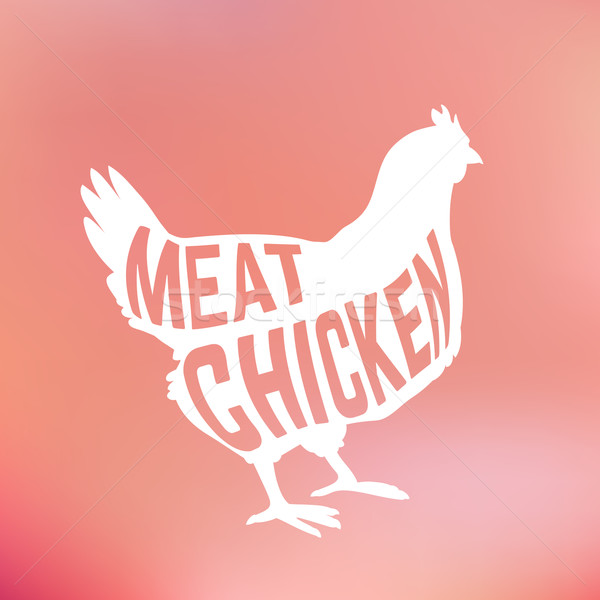 Meat Chicken silhouette with text inside on blur background Stock photo © Dashikka