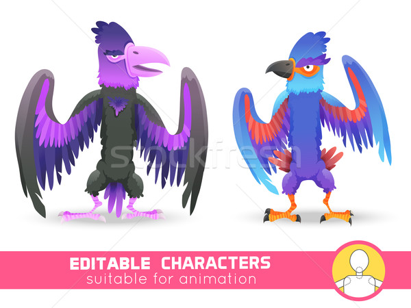 Set of two Big monsters bird with huge beak and wings. Evil  or Neutral or positive characters. Suit Stock photo © Dashikka