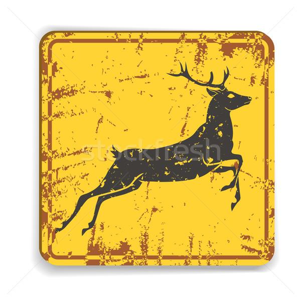 Edad metal carretera alerta cantar ciervos Foto stock © Dashikka