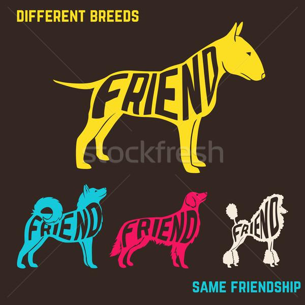 Set of dog breeds silhouettes with text inside.  Stock photo © Dashikka