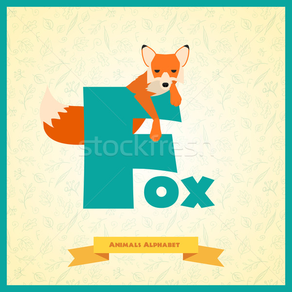 буква f Fox иллюстрированный алфавит ребенка школы Сток-фото © Dashikka