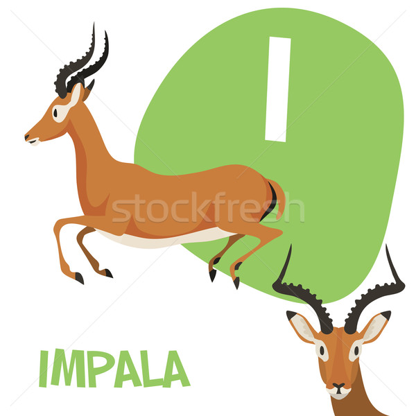 Funny cartoon animals vector alphabet letter set for kids . I is Impala Stock photo © Dashikka