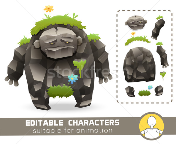 Funny cartoon rock monster with grass on his body editable elemental character. Suitable for animati Stock photo © Dashikka