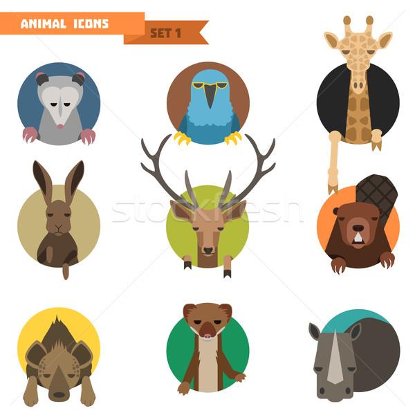 животного набор лице дизайна искусства знак Сток-фото © Dashikka