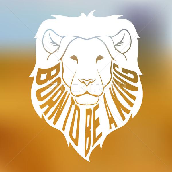 африканских лев голову силуэта текста Сток-фото © Dashikka