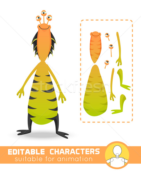 Cute and funny monster with many eyes and adorable smile wearing colorful yellow pants. Neutral, neg Stock photo © Dashikka