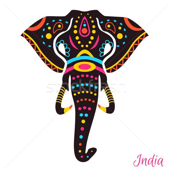 Indio elefante cabeza dibujo diseno arte Foto stock © Dashikka