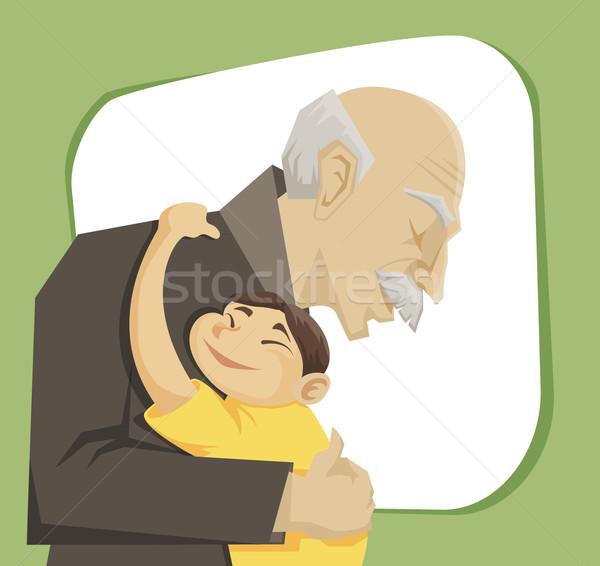 Dziadek wnuczka inny rodziny dziewczyna miłości Zdjęcia stock © Dashikka