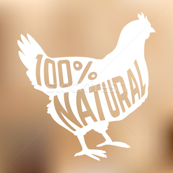 Silhouette of farm Hen black with text inside on blur background isolated Stock photo © Dashikka