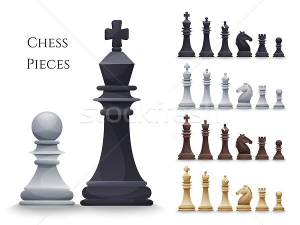 Vektör satranç büyük ayarlamak siyah beyaz örnek Stok fotoğraf © Dashikka
