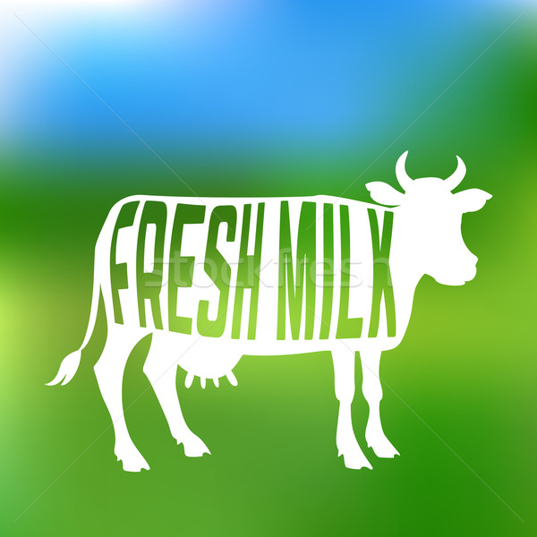 Cow silhouette with text inside about fresh milk. Label or emblem.  Stock photo © Dashikka