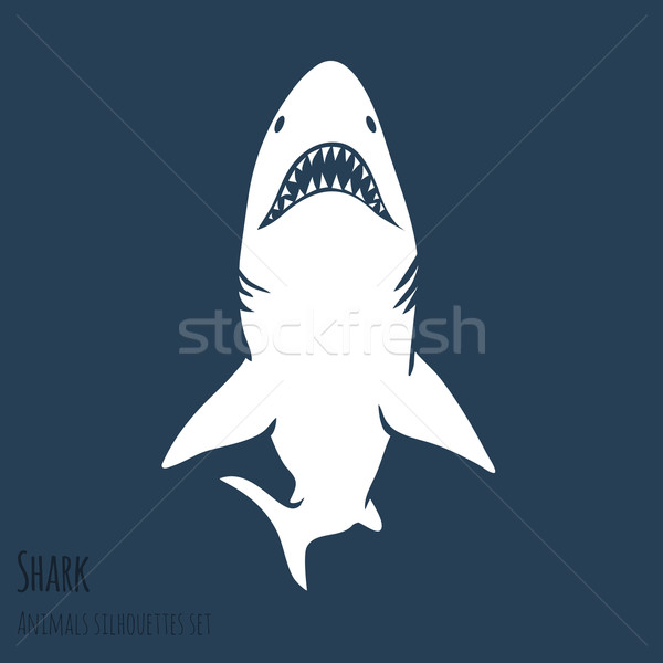 Tehlike köpekbalığı siluetleri ayarlamak derin mavi Stok fotoğraf © Dashikka