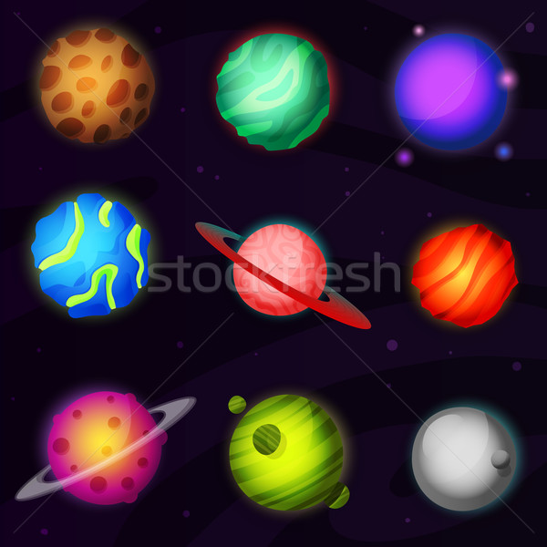 Set of 9 colorful luminous fantastic planets from other galaxy. Suitable for games, animation and vi Stock photo © Dashikka