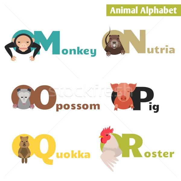 Hayvan alfabe arka plan eğitim okuma maymun Stok fotoğraf © Dashikka