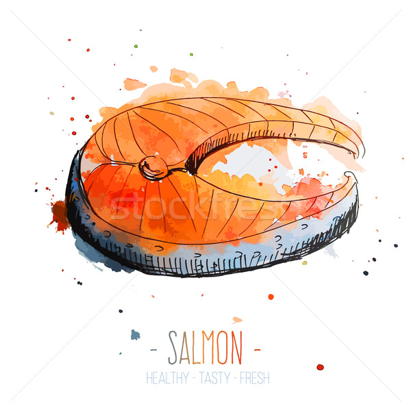 Watercolor salmon steak with splashes in free style. Fresh and juicy colors. Hand drawn isolated on  Stock photo © Dashikka