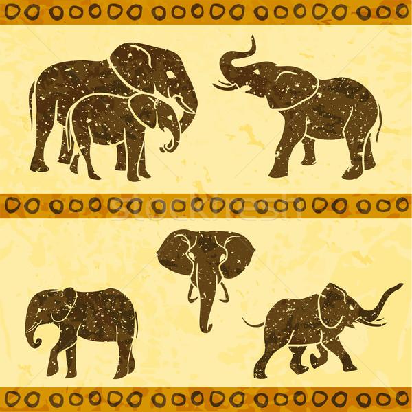 африканских Слоны набор дизайна искусства ретро Сток-фото © Dashikka
