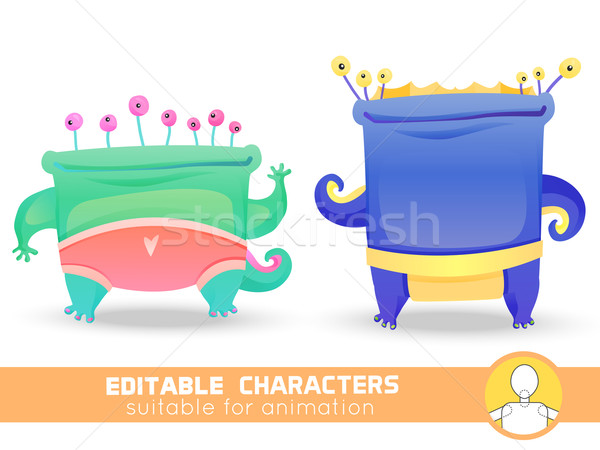 Set of two cute monsters with many eyes. Suitable for animation, video and games. You can change col Stock photo © Dashikka