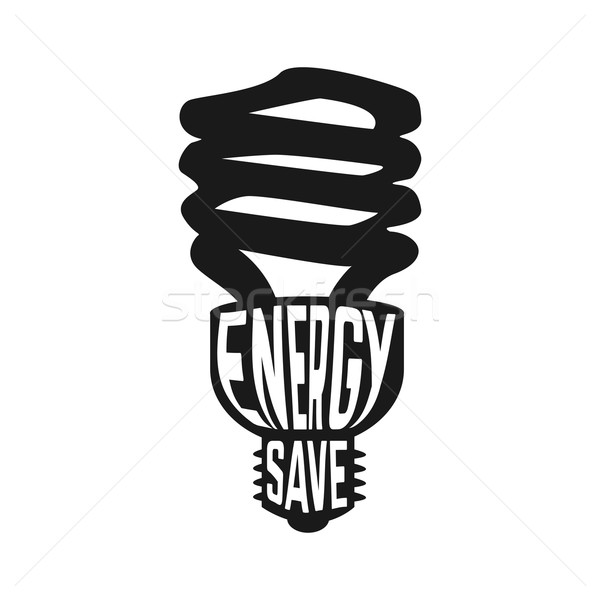 Black silhouette of lamp with text inside enegry saving concept Stock photo © Dashikka